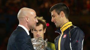 Andre Agassi ja Novak Djokovic.
