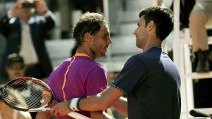 Rafael Nadal (vas.) ja Novak Djokovic