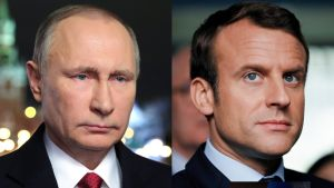 Venäjän presidentti Vladimir Putin (vas.) ja Ranskan presidentti Emmanuel Macron kuvakollaasissa.