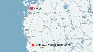 Karttapohja, jossa Tuulivoimapuisto ja Vaasa