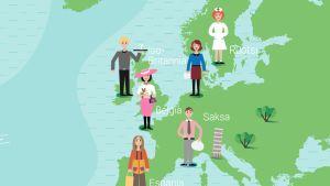 Piirroskuva suomalaisista Euroopan kartalla