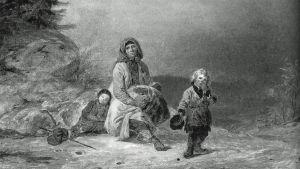 Mustavalkoinen kuva Robert Wilhelm Ekmanin maalauksesta Kerjäläisperhe maantiellä (1860).