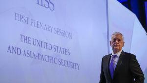 Yhdysvaltain puolustusministeri James Mattis puhui turvallisuuspolitiikkaa käsittelevässä tilaisuudessa Singaporessa 3.6.2017.