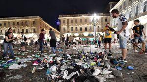 Piazza San Carlo -aukio lähes tyhjänä.