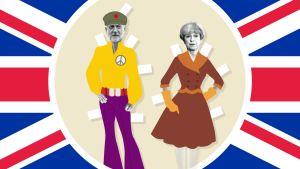 Paperinukkepiirros, jossa Theresa May on pukeutunut 50-luvun tyyliin ja Jeremy Corbyn on pukeutunut 70-luvun tyyliin.