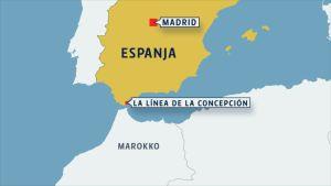 espanjan kartta jossa La Linea de la Concepcion