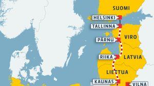 Kartta Rail Balticin reitistä