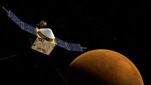 Piirros Maven-luotaimesta Marsin kaasukehällä