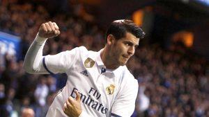 Alvaro Morata juhlii maalia Real Madridin paidassa.