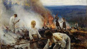 Eero Järnefeltin teos Kaski, joka kuvaa kaskenpolttajia
