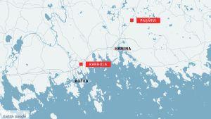 Kotkan Karhula ja Haminan Paijärvi kartalla.