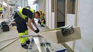 Ammattikoulussa rakennusalaa opiskeleva poika mittaa lautaa.