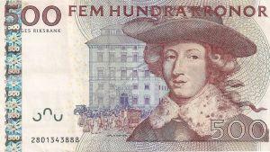 Ruotsin viidensadan kruunun poistuva seteli.