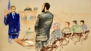 Oikeussalipiirtäjä Janet Hamlinin kuvitus Omar Khadrin Guantanamo-oikeudenkäynnistä 25. lokakuuta 2010.