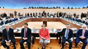Donald Trump, Xi Jinping, Angela Merkel, Mauricio Macri ja Malcolm Turnbull osallistuvat G20-kokoukseen Hampurissa