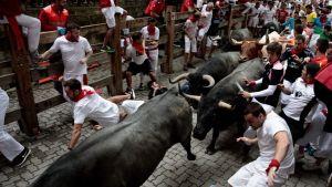 Juoksijat pakenivat härkiä 8. heinäkuuta Paplonan perinteisessä härkäjuoksussa Pohjois-Espanjassa.