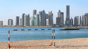Pääkaupunki Dohan horisontti Qatarissa.