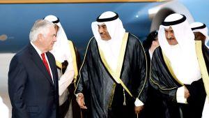 Yhdysvaltain ulkoministeri Rex Tillerson saapui Kuwaitiin maanantaina.