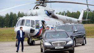 Venäjän presidentti Vladimir Putin saapui helikopterilla valtiovierailulle Savonlinnaan.