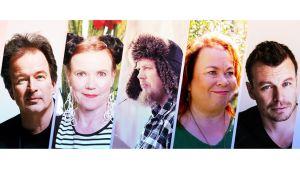 Kirjailijat Kjell Westö, Rosa Liksom, Tuomas Kyrö, Leena Lehtolainen ja Peter Franzen.