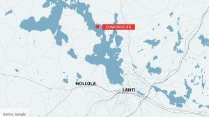 Kartta, jossa Komonselkä.