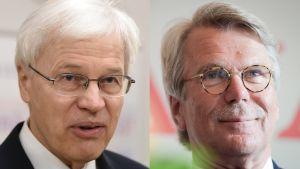 Talousnobelisti Bengt Holmström (vas.) ja Sammon ja Nordean hallitusten puheenjohtaja Björn Wahlroos.