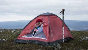 Mies teltan oviaukossa tunturin laella