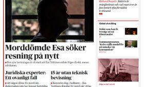 Kuvakaappaus sanomalehti Dagens Nyheterin kotisivulta.
