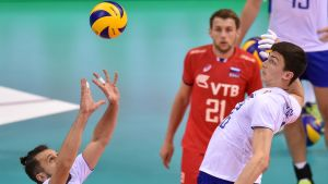 Russia's Alexander Butko (L) and Ilias Kurkaev (R) in action during the 2017 CEV Volleyball European Championship semifinal match between Russia and Belgium in Krakow, Poland