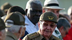 Kuuban presidentti Raúl Castro Pinar del Ríon kaupungissa heinäkuussa Kansallisen kapinallispäivän juhlassa.