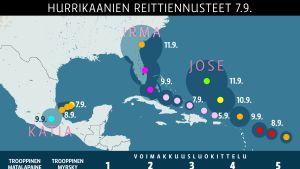 Kartta Karibialla liikkuvista hurrikaaneista.