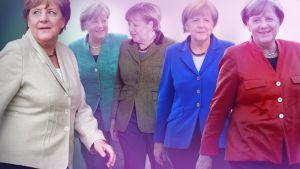 Kuvakollaasi Saksan liittokansleri Angela Merkelin erivärisistä jakkupuvuista