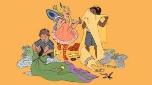 Lapset pukeutuvat rooliasuihin.