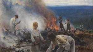 Maalaus naisista, miehistä ja tytöstä repaleisissa vaatteissa polttamassa kaskea vaaramaisemassa.