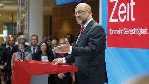 Sosialidemokraattisen SPD-puolueen johtaja Martin Schulz puhui lehdistölle 25. syyskuuta.