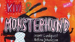 Kirjan kansikuva, jossa lapsen takana on kuolaavan jättikoiran varjokuva.