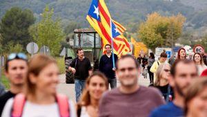 Traktoreita, lippuja ja marssivia ihmisiä