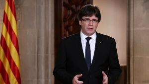 Katalonian aluehallinnon johtaja pitämässä puhetta.