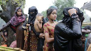 Rohingya-pakolaiset jonottivat kaatosateessa saadakseen ruokaa Ukhiyassa Bangladeshissa 6. lokakuuta.