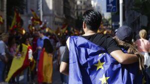 Pariskunta selin kameraan, selät peittää EU:n lippu.