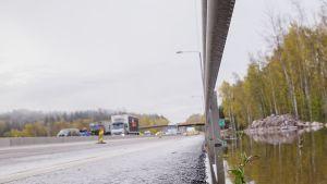 Turunväylän tulva-alue 12.10.2017.