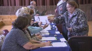 Ihmisiä rekisteröitymässä äänestyspaikalla.