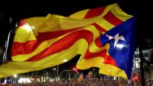 Mielenosoittajajoukko, jonka yläpuolella liehuu suurikokoinen Katalonian lippu.