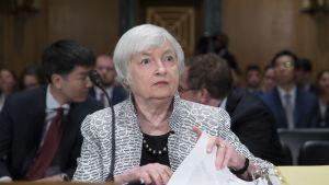 Yhdysvaltain keskuspankin johtaja Janet Yellen kongressin valiokuntaistunnossa 13.7.2017.