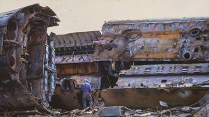 Laivan purkua Naantalissa 1980-luvulla.