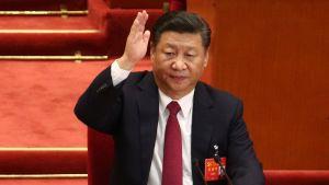 Presidentti Xi Jinping Kiinan kommunistisen puolueen puoluekokouksen päätöspäivänä.