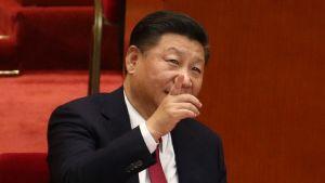 Xi Jinping osoittaa kohti kattoa puoluekokouksessa.