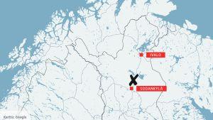 Sodankylän alueen kartta.