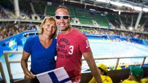 Reetta Kaukinen ja puolisonsa Tuomas Kaukinen Rio de Janeiro olympiakisoissa elokuussa 2016.