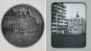 Rinnakkain samasta paikasta otetut valokuvat kuvat Turun Humalistonkadulta vuosilta 1842 ja 2017.